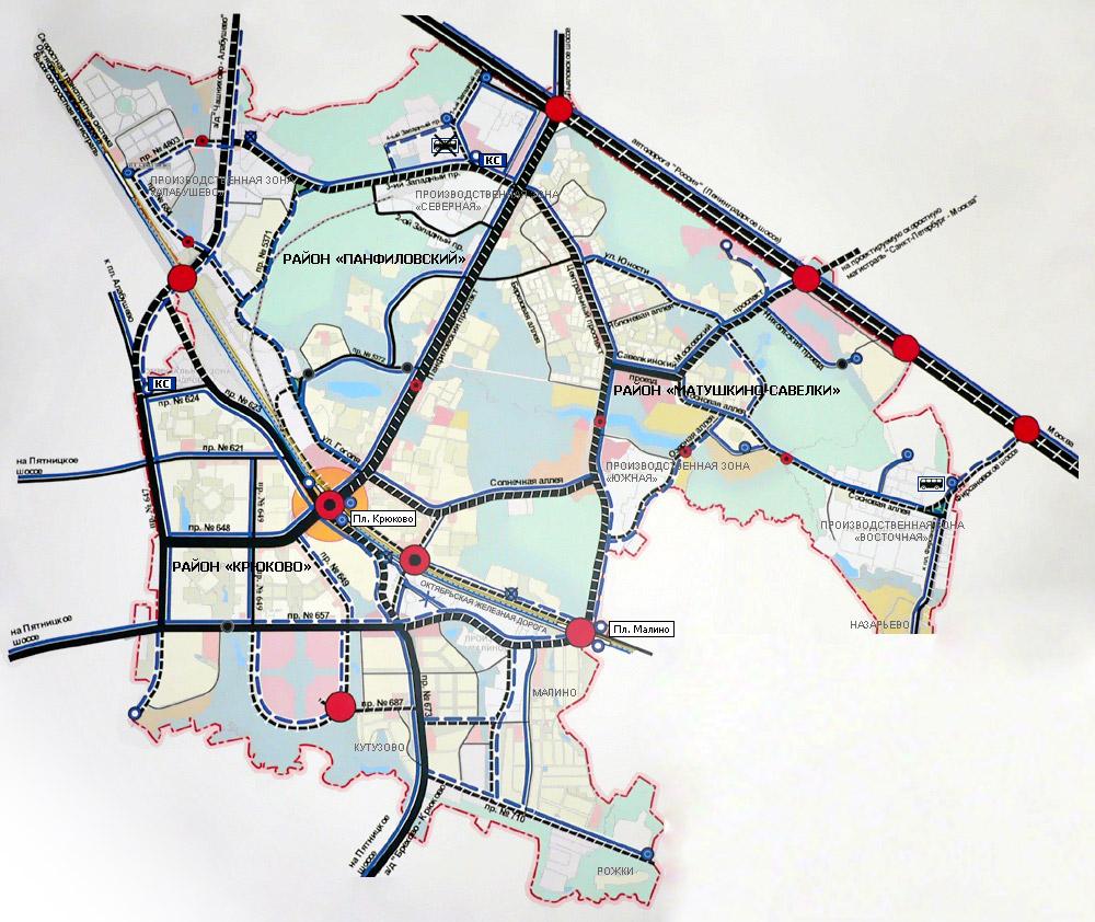 Схема улично-дорожной сети Зеленограда.