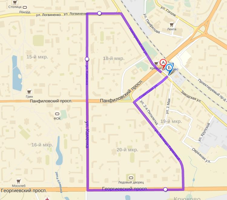 схема автобусного маршрута